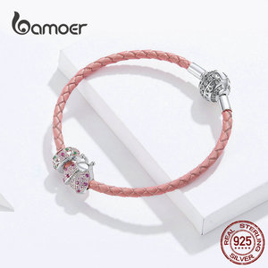 Image 3 - bamoer Pink Ladybug Insert and Flower Beads Silver Charm for Women Leather Bracelet Sterling Silver 925 Luxury Jewelry SCB823