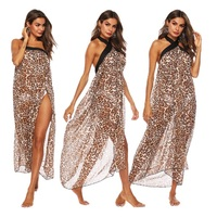 Europe New Design Sexy Swimsuit Cover Up Popular Beach Dress Beach Cover Girls Lady Leopard Print Pareo Sarongs Bikini Tunic