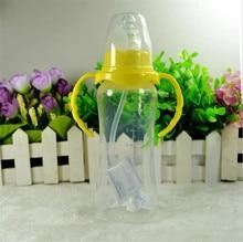 240ml Cute Baby bottle Infant Newborn Children Learn Feeding Drinking Handle Bottle Kids Straw Juice Water Bottles Training Cup