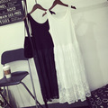 Мода Весна-Лето Женщины Без Рукавов О-Образным Вырезом Кружева Платья Твердые Свободные пят Леди Платья Vestidos Bottom Dress