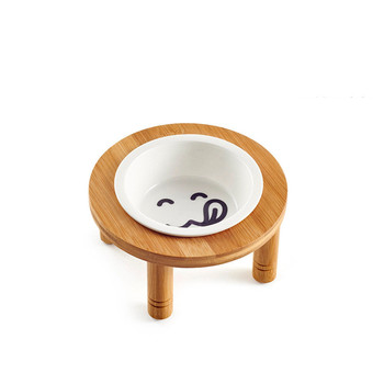 Ceramics Dog Bowl Bamboo Bottom  4