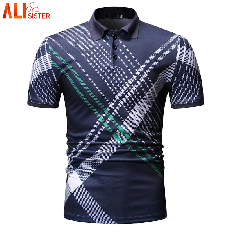 2019 Summer   Polo   Shirt Men Strip Short Sleeve Slim Fit   Polo   Mens Shirts Homme Camisa Casual Business Clothing Plus Size Tops