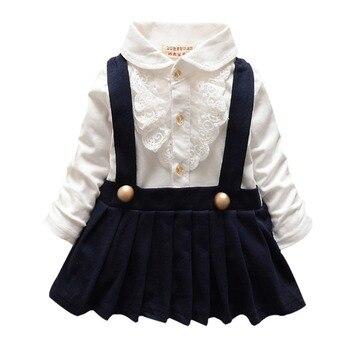 High Quality Hot Baby Children Kids Girl Lapel Pleated Suspender Dress Lace Shirt Vest Clothes AutumnSpring conjuntos casuales para niñas