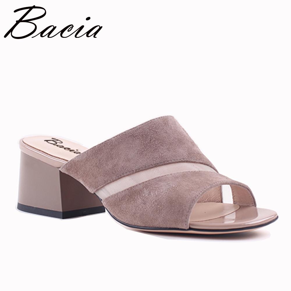 Bacia Sandals 2017 Sheep Suede Riband Shoes Fashion Women Summer Slippers Genuine Leather Women Shoes Size 35-41  VXB015