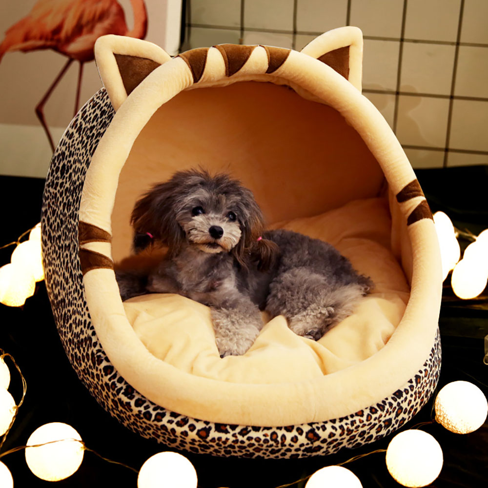 Warm Puppy House For Small Dog Cat Sleeping Kennel Soft Home Pet Cats Bed Nest Washable Dogs Mat Pets Foldable House Bed Product