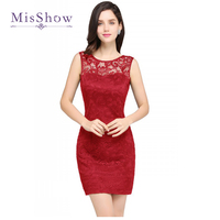 2017 New Navy Blue Red Cocktail Dresses Cheap Short Party Sleeveless Prom Dress Women Slim Lace