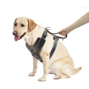 Image 4 - Durevole Cablaggio Del Cane Cani di Grossa taglia Imbracature di Addestramento Dellanimale Domestico del Cuoio Genuino Della Maglia Con Il Controllo Rapido Maniglia Per Il Labrador Pitbull K9