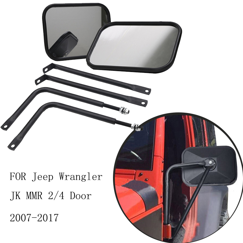 Door Side Hinge Mirror For Jeep Wrangler JK Sport X Sahara Unlimited Rubicon 2007 - 2017 Car Exterior Styling // 1 pc j208 abs plastic front matte black grille hood protector for 2007 2017 jeep wrangler jk rubicon sahara sport