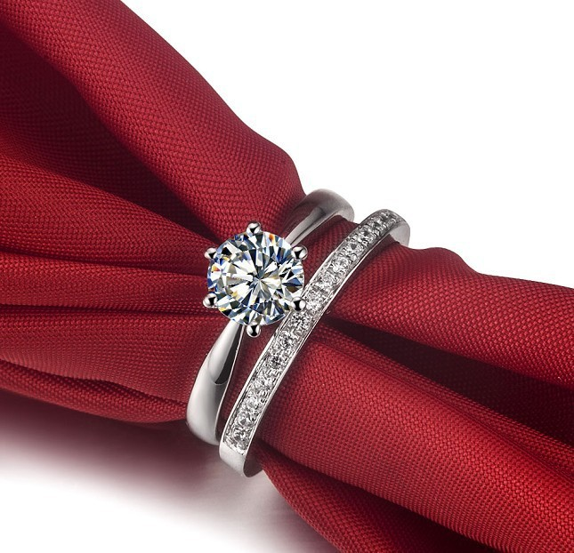 2ct two rings combine fine jewellry set pleasant man made synthetic diamonds wedding ring romantic anniversary - Wedding Ring Set For Women