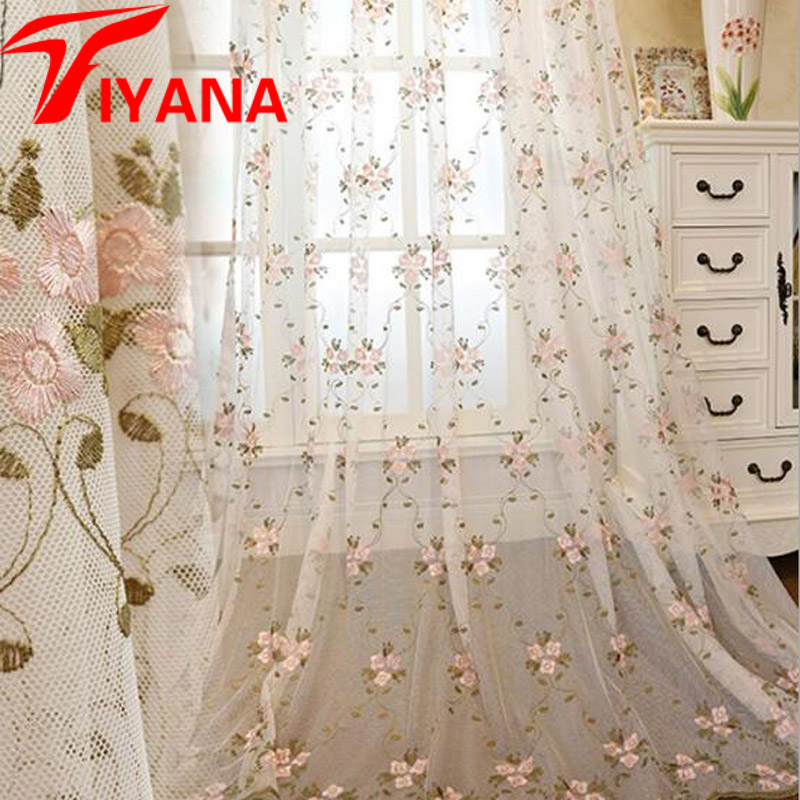 Rustic Embroidered Flower Sheer Window Curtains For Living