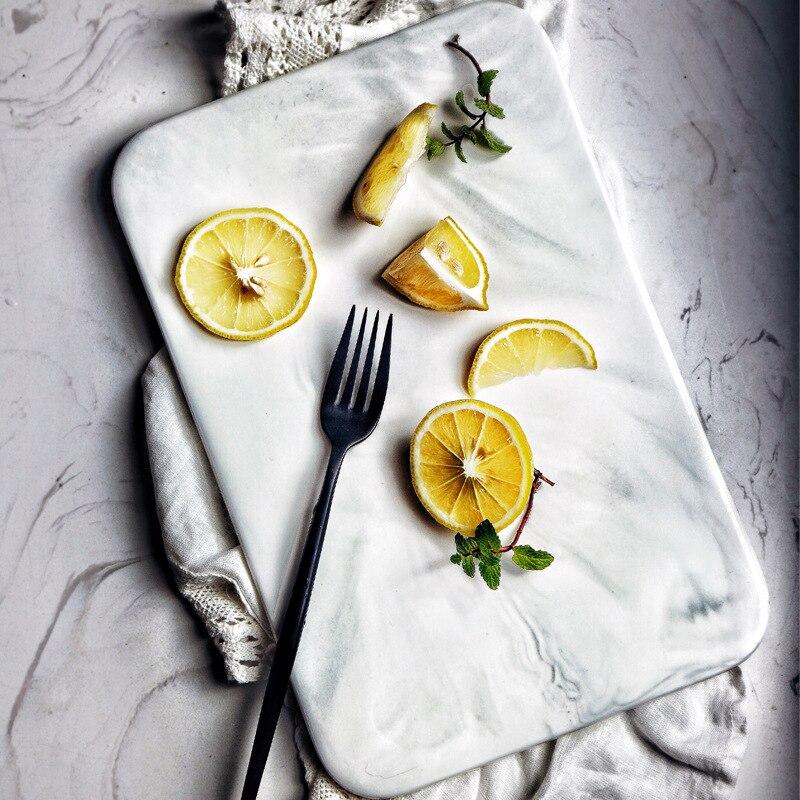 Nordic Style Marble Plates Bread Dessert Plate Sushi Dishes Desserts Cake Plate Kitchen Dinnerware Pizza Peel Board Tea Tray