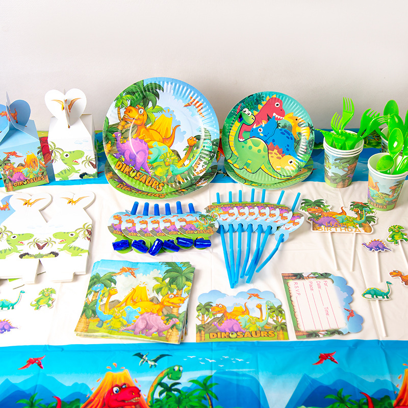 Green Dinosaur Party Decoration 1st Baby Shower Boys Birthday Party Supplies Dinosaur Disposable Tableware Dino Banner/Plates