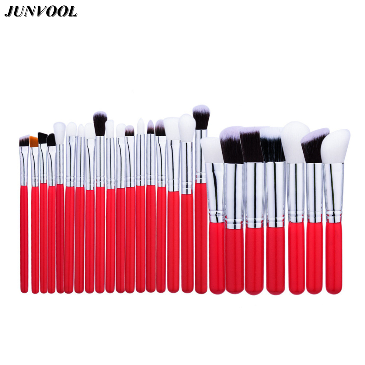Professional 25pcs Cosmetic Makeup Brushes Set Beauty Blusher Eyeshadow Powder Foundation Eyebrow Make Up Brush Red and Silver free shipping 5pcs 4mm shank 22mm cel carbide end mill engraving bits cnc rotary burrs set corn milling cutter pcb router bits