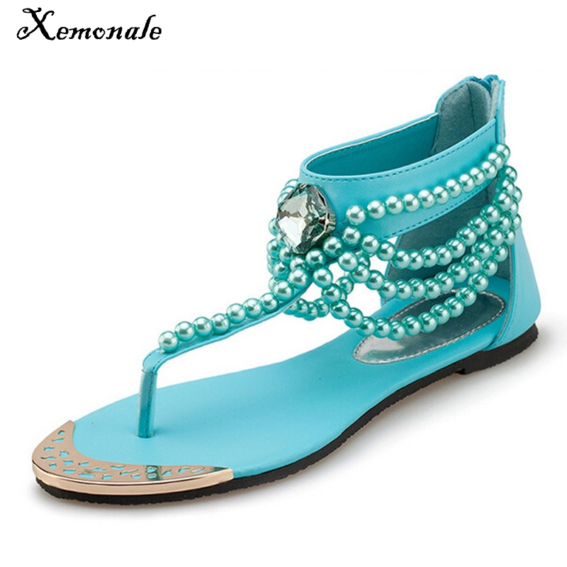 Xemonale Bling Gladiator Sandals T-Strap Flip Flops Summer Style Flats Shoes Woman Rhinestone Pearl Casual Women Shoes XWZ2015 men genuine leather casual thongs roman style t strap flip flop beach sandals summer gladiator sandals shoes