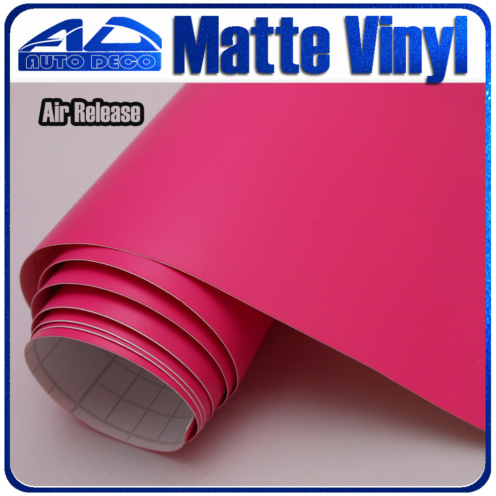 Rose Red Car Matte Vinyl Sticker With Air Bubble Free Car Wrap Film For Car Decoration Size:1.52*30m FedEx Free Shipping light purple matte vinyl car wrap film for car decoration sticker with air bubble free fedex free shipping