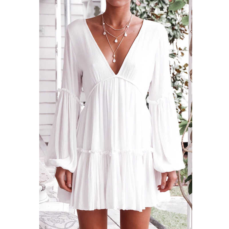2019 летнее Модное шифоновое сексуальное платье с v-образным вырезом и рукавом-фонариком для вечеринки Vestidos белое мини-платье с длинным рукавом пляжный сарафан для вечеринки