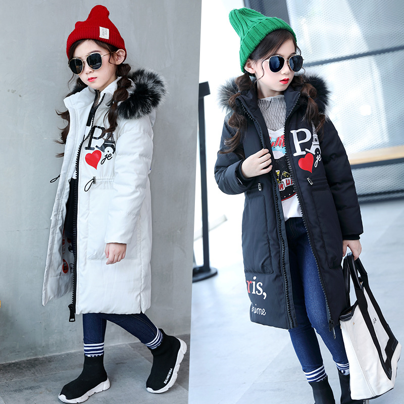 Girls down jacket coat white red black cute patern hooded outerwear fashion winter clothes for 5 6 7 8 9 10 11 12 13 years kids long black girls down coat winter solid 80% white duck down fur hooded fashion pink for 10 12 14 years grils outerwear