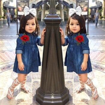 Girls Princess Dress Spring 2018 Toddler Kids Baby Girl Flower Rose Denim Long Sleeve Party Mini Dress Outfits Dropshipping 0110 spring outfits for kids