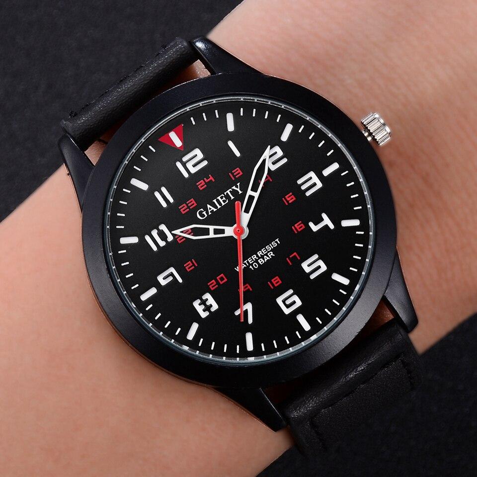 Gaiety Brand Fashion Watch Men Black Leather Strap Business Quartz Wrist Watch Luxury Military Sport Dress Clock Gift Relogio