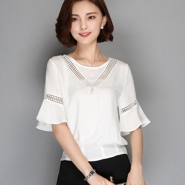 Summer Tops Women's O-neck Half Sleeve Plus Size Cotton Shirt Women Blouses White Blue Grey S M L Free Shipping
