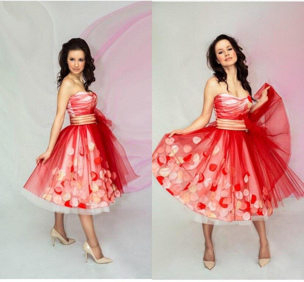 1b200d8386e Bat Mitzvah Dresses 2017 Red Short Prom Dresses with Rose Petal Tea Length Sweetheart  Tulle Pageant Dresses Party Dresses 951615-in Prom Dresses from ...