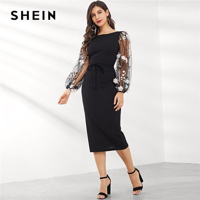 שיין שחור Applique רקום רשת שרוול עיפרון שמלת נשים סתיו אלגנטי מקרית סירת צוואר בישוף שרוול עיפרון שמלות