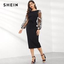 SHEIN Siyah Aplike Işlemeli Örgü Kollu Kalem Elbise Kadınlar Sonbahar Zarif Rahat Tekne Boyun Bishop Kollu Kalem Elbiseler