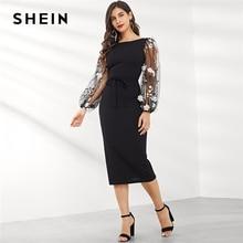 SHEIN negro aplique bordado malla manga lápiz Vestido Mujer otoño elegante Casual barco cuello obispo manga lápiz vestidos