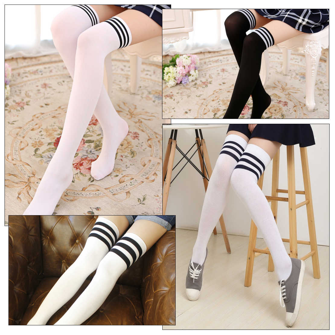 41b810612ce ... ciciTree Cotton Warm Women Girls Color Classic Striped Socks 3 Line Striped  Stockings Ladies Knee High ...