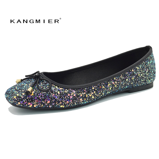 Greatest Sequin Glitter Ballet Flat Shoes Women Blue Colorful Square Toe  DA31