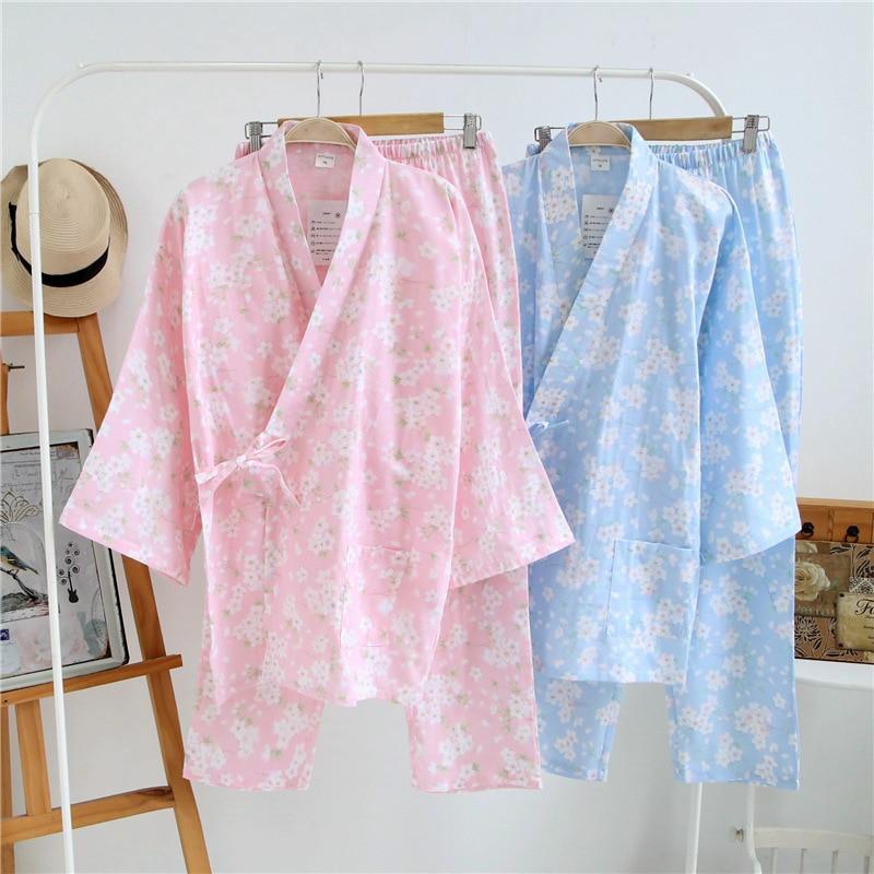Autumn/Spring Sakura Yukata Japanese Kimono Robe & Pants Women Cotton Pajamas Set Traditional Japanese Clothes Spa Bath PJS