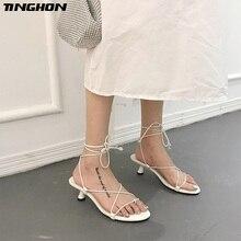 цена TINGHON Lace up Cross-tie Women Sandals Geometric Kitten Heel Women Sandals Women Narrow Band Vintage Sandals Women