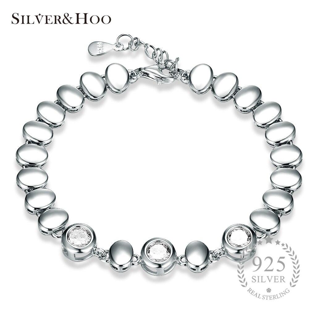 SILVERHOO Trendy Round Inlay White Zircon 925 Sterling Silver Link Chain Bracelets for Women Wedding Fine Jewelry Gift