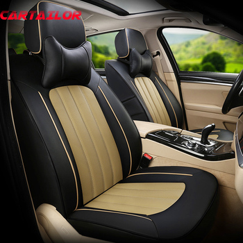 CARTAILOR Seat Covers & Supports for Fiat Linea Car Seat Cover Leather Cowhide Seats Set Cars Leatherette Seat Cushion Protector