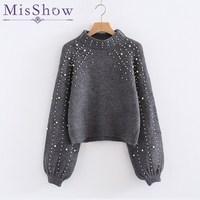 Lantern Sleeve Sweater Women Cashmere O Neck Angora Sweater Winter Women Sweaters and Pullovers Knitted Sweater Long Sleeve