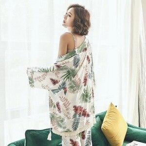 Image 2 - 새로운 여성 잠옷 세트 여성 3 조각 세트 수면 라운지 코튼 섹시한 봄 가을 pijama nightwear 꽃 플러스 사이즈 tracksuit