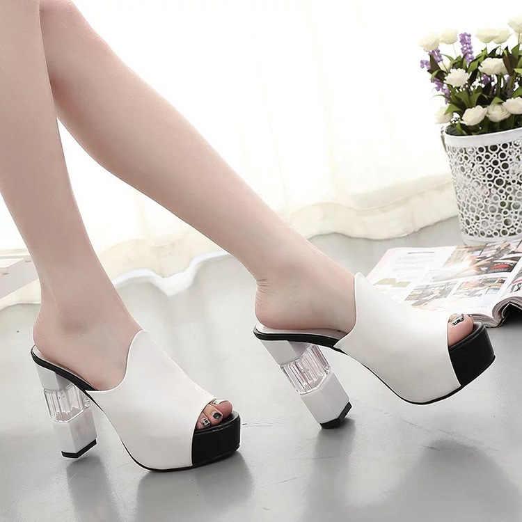 סקסי קיץ נשים אלגנטי אדום גבוהה עקב סנדלי ציוץ הבוהן פלטפורמת נעלי קריסטל שמנמן העקב נעלי גברת העקב עבה אופנה 40