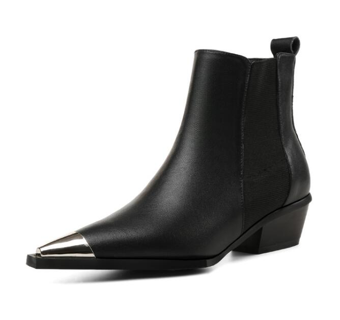 Hot Selling Ins Style Metal Pointed Toe Ankle Boots Woman Autumn Thick Heels Leather Riding Boots Black Short Boots for Lady цена