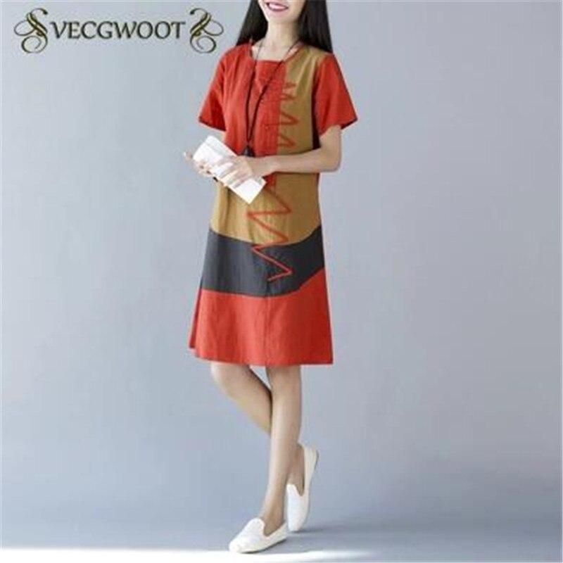 Summer Women Short - Sleeved Women Dress 2019 New Casual Round Neck Cotton Linen Patchwork Women Dress M-XXL SES361