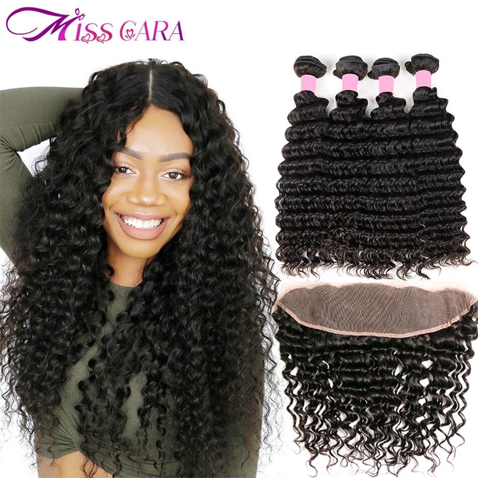 Miss Cara Малайзии глубокая волна Связки с фронтальной 100% человеческих волос 3/4 Связки с закрытием Волосы remy кружева фронтальной с связки (bundle)