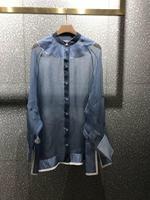 2019 Весна новая синяя перспективная шелковая рубашка 0515
