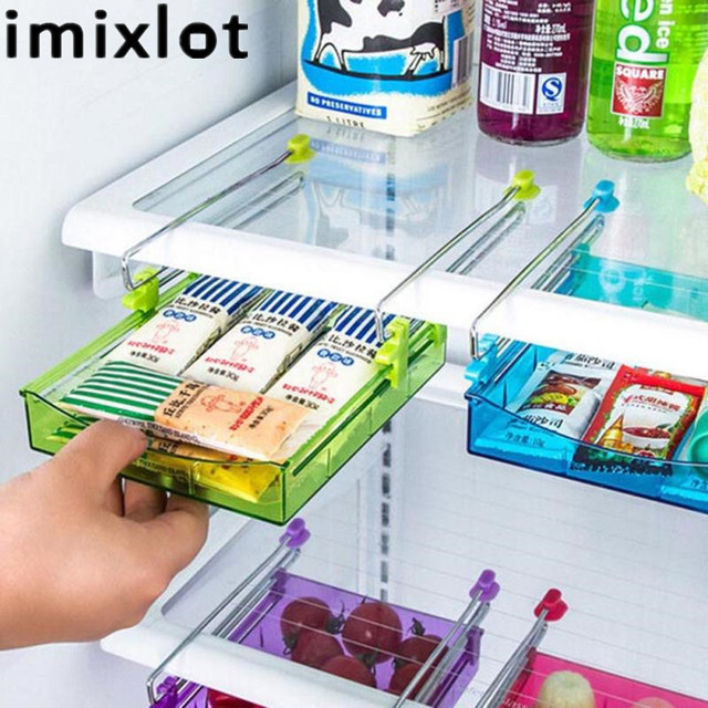 Imixlot Creative DIY Kitchen Fridge Home Space Saver Organizer Slide Under Shelf Rack Holder Bathroom Storage