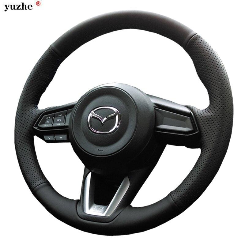 Yuzhe Personnalisé En Cuir Véritable Couverture De Volant de Voiture Pour Mazda 2 3 6 CX-4 CX-5 CX-7 Axela Couverture De Volant De voiture accessoires