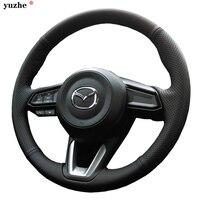 Yuzhe Custom Genuine Leather Car Steering Wheel Cover For Mazda 2 3 6 CX 4 CX 5 CX 7 Axela Steering Wheel Cover car accessories