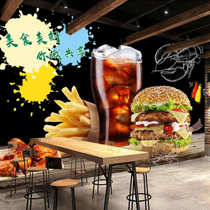 Image 3 - Custom Photo Wall Paper Self adhesive Wall Sticker Restaurant Cafe Burger Shop Wall Decoration Poster Mural Papel De Parede 3D