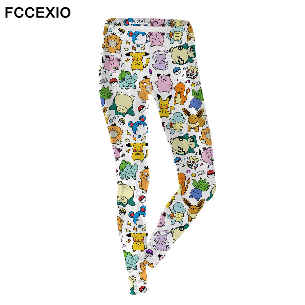 FCCEXIO Simple Cartoon Pokemon GO Designs Gray Female   Leggings   Spring Casual Women's Stretch   Legging   Soft Jegging Fitness Legins