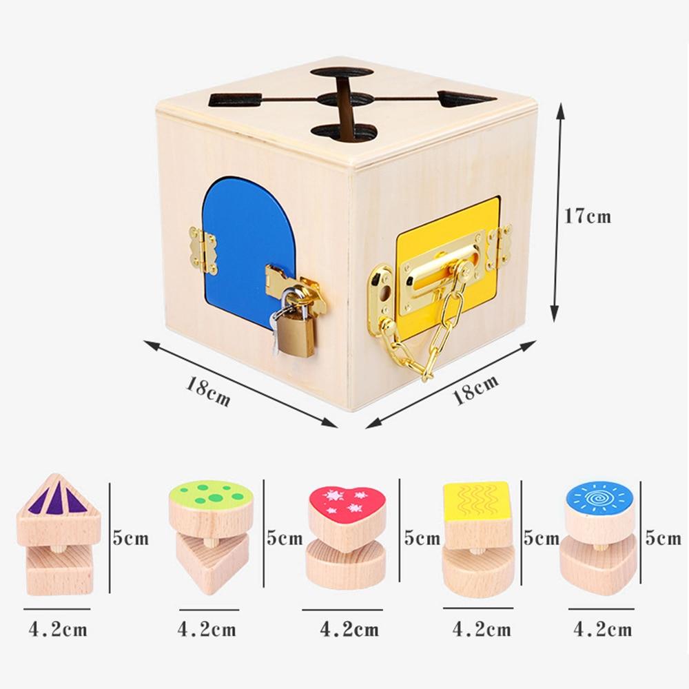 Montessori jouets 3 ans serrure boîte Montessori matériaux jouets sensoriels éducatifs en bois jouets pour enfants Montessori enfants jeu - 4