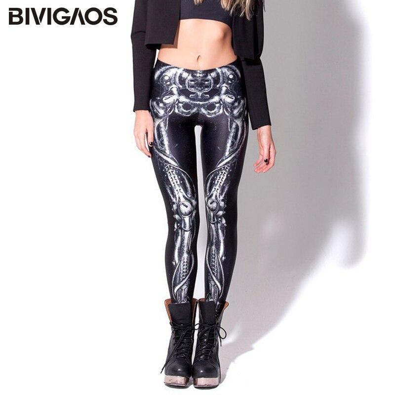 2018 New Fashion Euramerican BLACK Milk Galaxy Leggings Fitness Bone Skull Print Elastic Pencil Pants Slim Thiny For Women