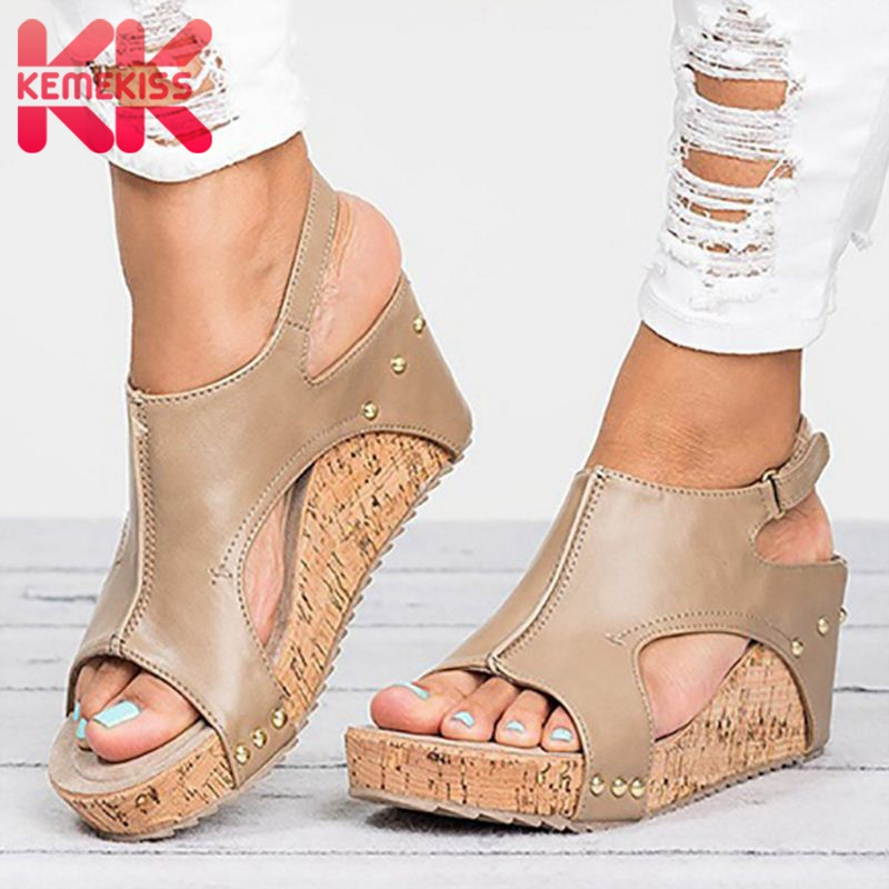 KemeKiss Vintage Retro Women Sandals Chunky High Heel Ladies Summer Open Toe Shoes Zapatos Mujer Woman Wedge Footwear 35-43