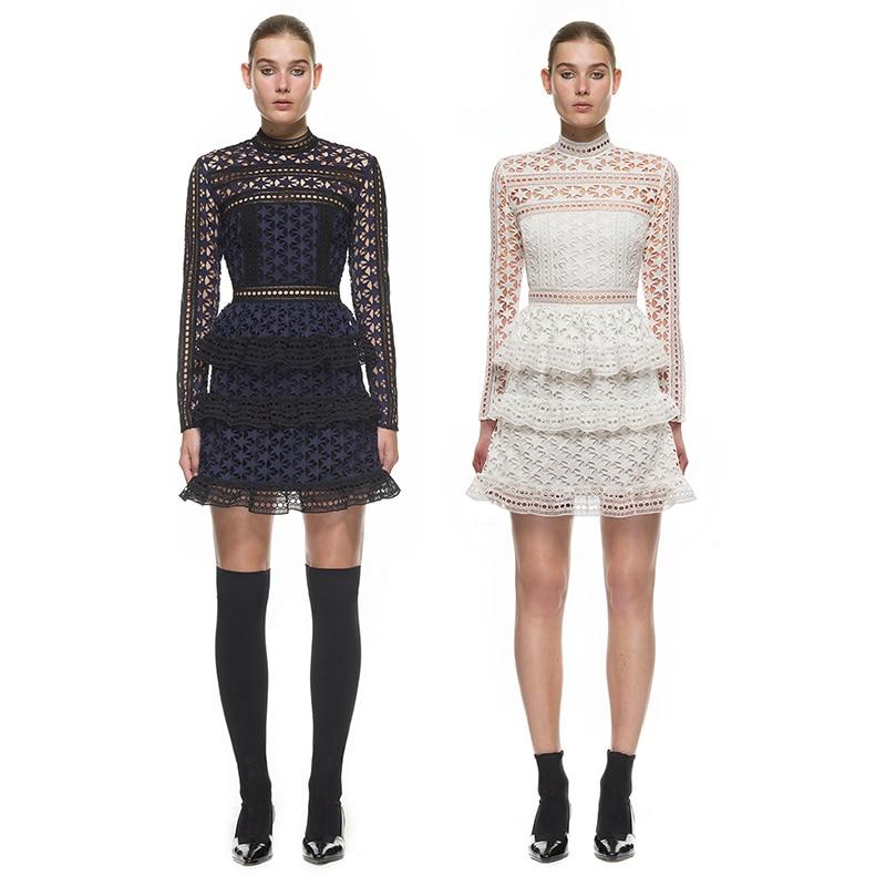 2017 Spring Designer Dress Women Luxury 2017 Sexy High Neck Star White/Dark Blue Lace Paneled Elegant A Line Runway Dresses